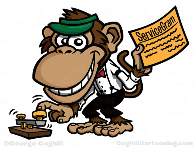 telegraph operator monkey cartoon character servicegram