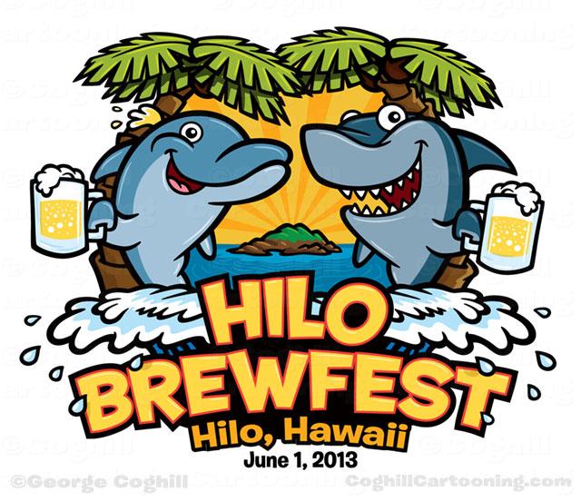 Cartoon logo dolphin shark beer island ocean Hilo Brewfest