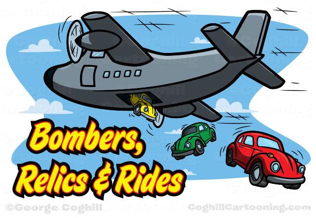 Cartoon military plane car Volkswagen Beetle Bombers Relics Rides