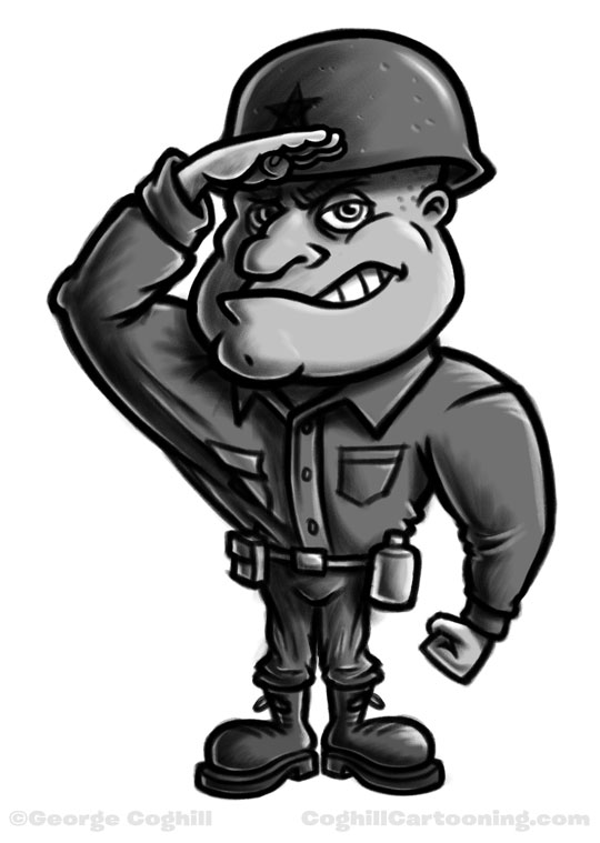 Soldier cartoon character sketch Coghill