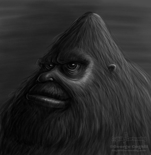 Bigfoot head sketch drawing.