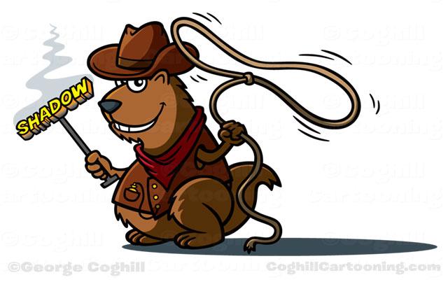 Shadow Trailer cowboy groundhog mascot cartoon character