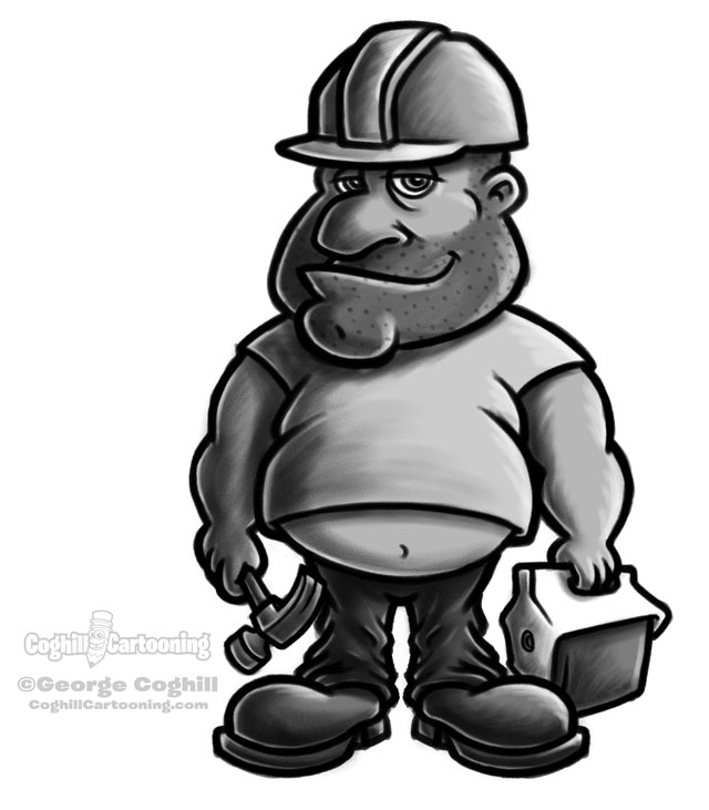 Fat Construction Worker Cartoon Character Sketch Coghill