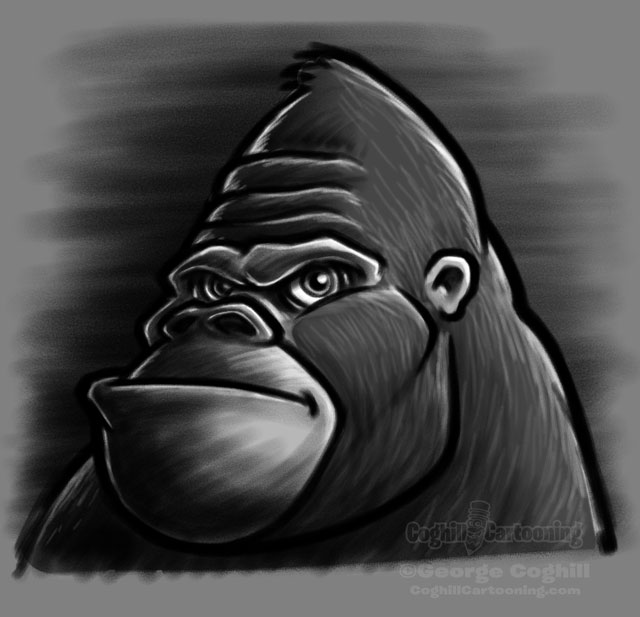 Gorilla head cartoon character sketch