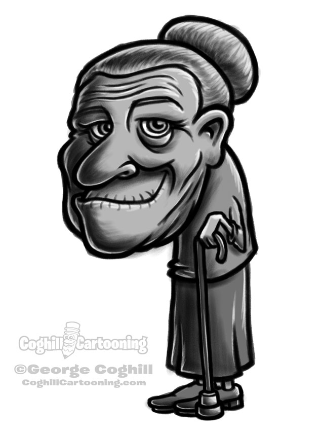 Little old lady cartoon character sketch.