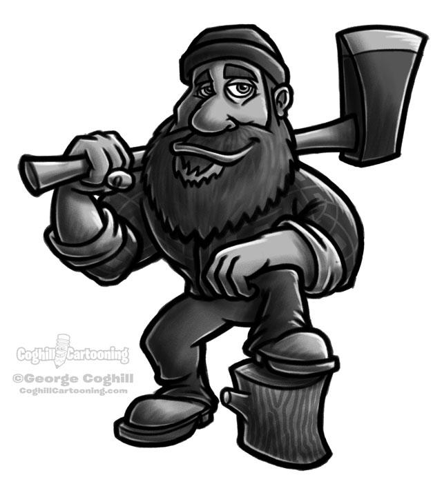 Lumberjack cartoon character sketch.
