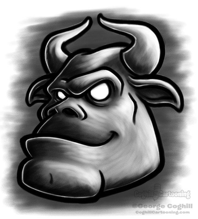 Minotaur head cartoon character sketch.