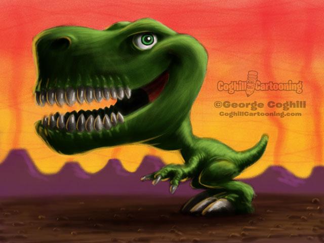 Dinosaur 5 Tyrannosaurus Rex Cartoon Character Sketch