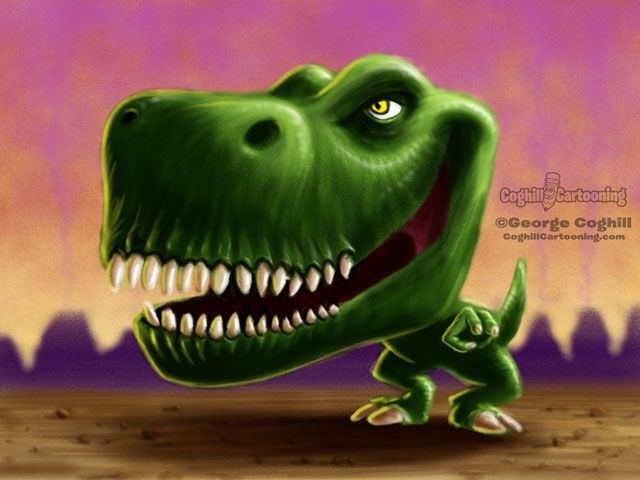 Dinosaur 6 Tyrannosaurus Rex Cartoon Character Sketch