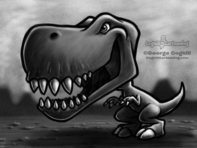 Dinosaur 7 Tyrannosaurus Rex Cartoon Character Sketch