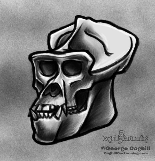 Gorilla Skull 1 Cartoon Sketch