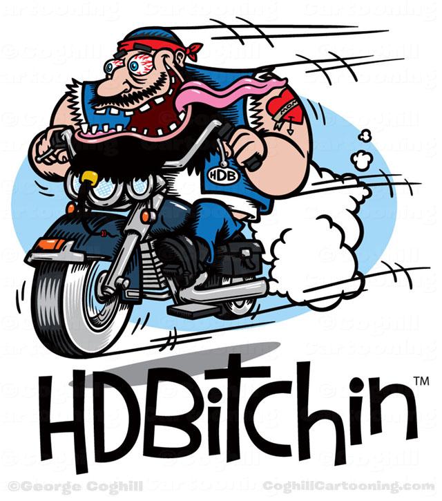 HDBitchin cartoon biker hot rod motorcycle cartoon logo.