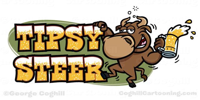 Tipsy Steer drunk bull beer cartoon logo Coghill