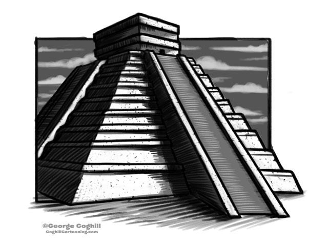 """""""El Castillo"""" Chichen Itza Pyramid Cartoon Temple Sketch"""
