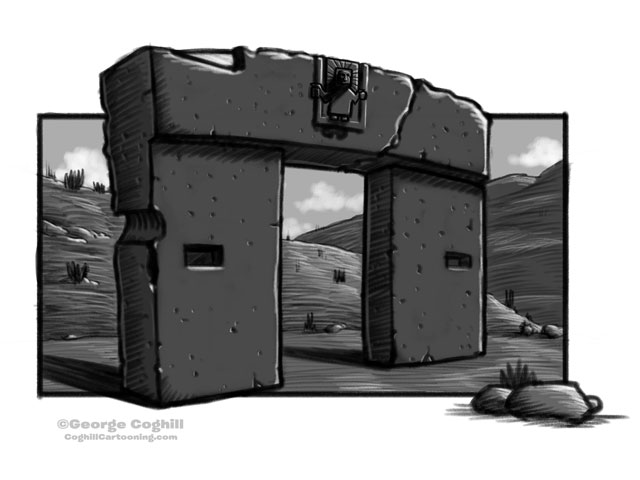 Gate Of The Sun Tiwanaku Temple Cartoon Monument Sketch