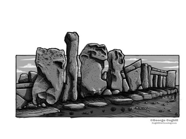 Hagar Qim Malta Megalithic Temple Cartoon Sketch