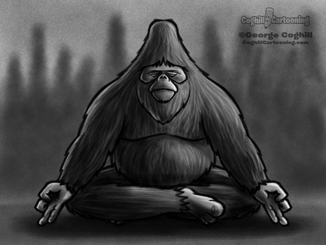 Meditating Bigfoot Cartoon Character Sketch