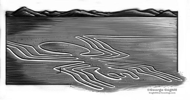 Nazca Lines Peru Cartoon Sketch