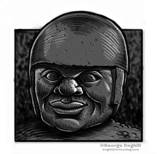 Olmec Colossal Head Statue Mexico Cartoon Sketch 5