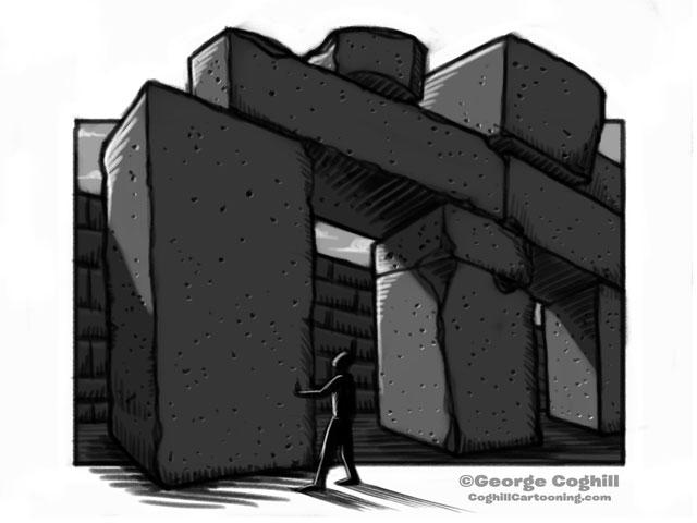 Osireion - Abydos, Egypt Ancient Megalithic Temple Cartoon Sketch