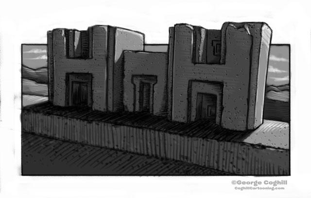 "Puma Punku Megalithic ""H"" Stones Cartoon Sketch"