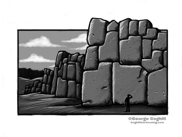 Sacsayhuaman Incan Temple Peru Cartoon Sketch