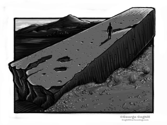 """Stone Of The Pregnant Woman"" at Baalbek Lebanon Cartoon Sketch"