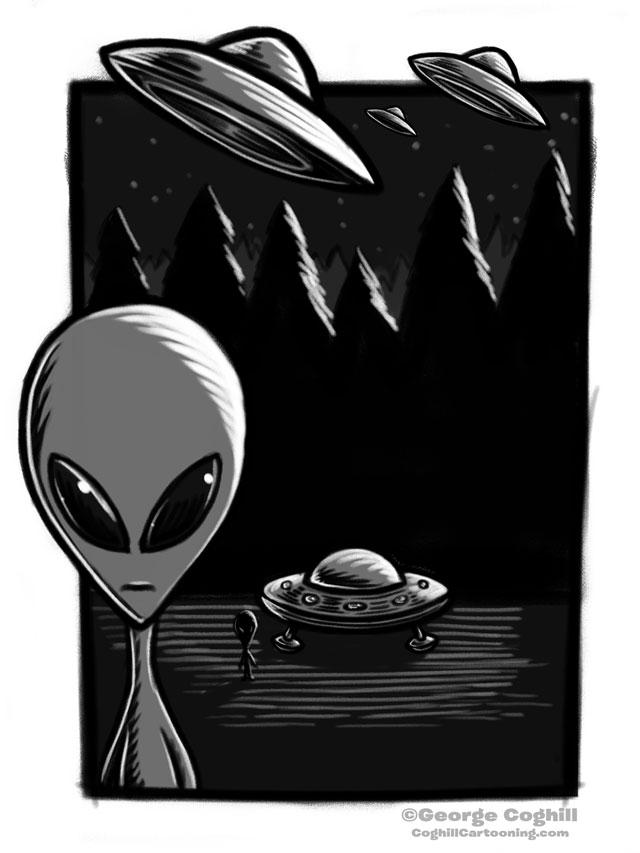 UFO Alien Cartoon Character Sketch