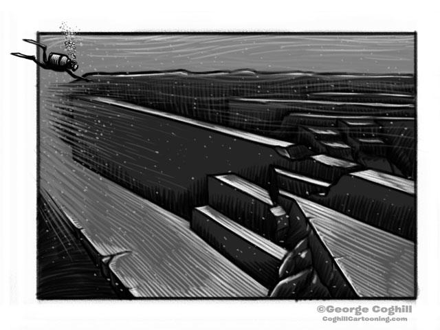 Yonaguni Monument Cartoon Sketch