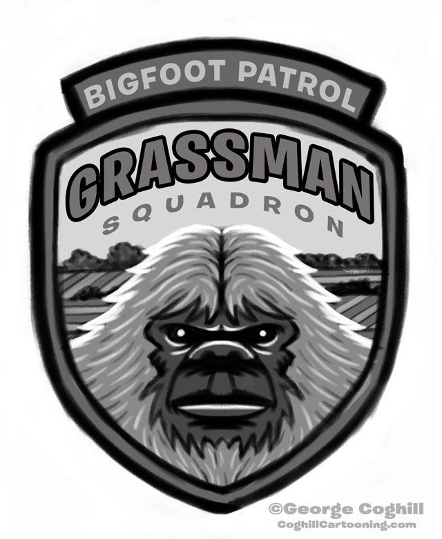 """Grassman Squadron: Bigfoot Patrol"" Park Ranger Patch Cartoon Sketch"