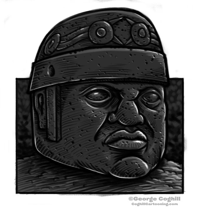 Olmec Colossal Head Statue Cartoon Sketch 10