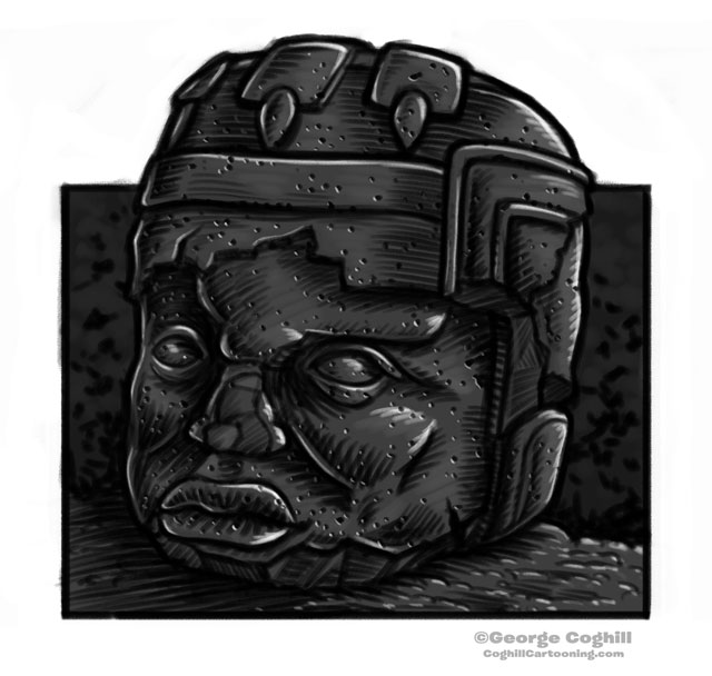 Olmec Colossal Head Statue Cartoon Sketch 7
