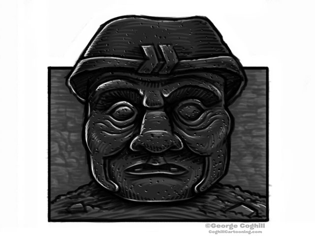 Olmec Colossal Head Sculpture Cartoon Sketch 9