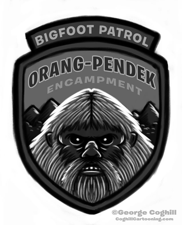 """Orang Pendek Encampment: Bigfoot Patrol"" Patch Cartoon Sketch"