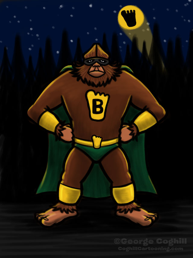 Super Bigfoot cartoon character sketch
