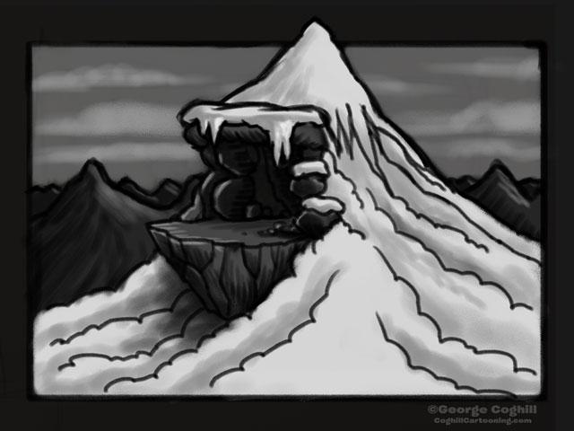 Yeti Himalayan Mountain Lair Entrance Cartoon Sketch