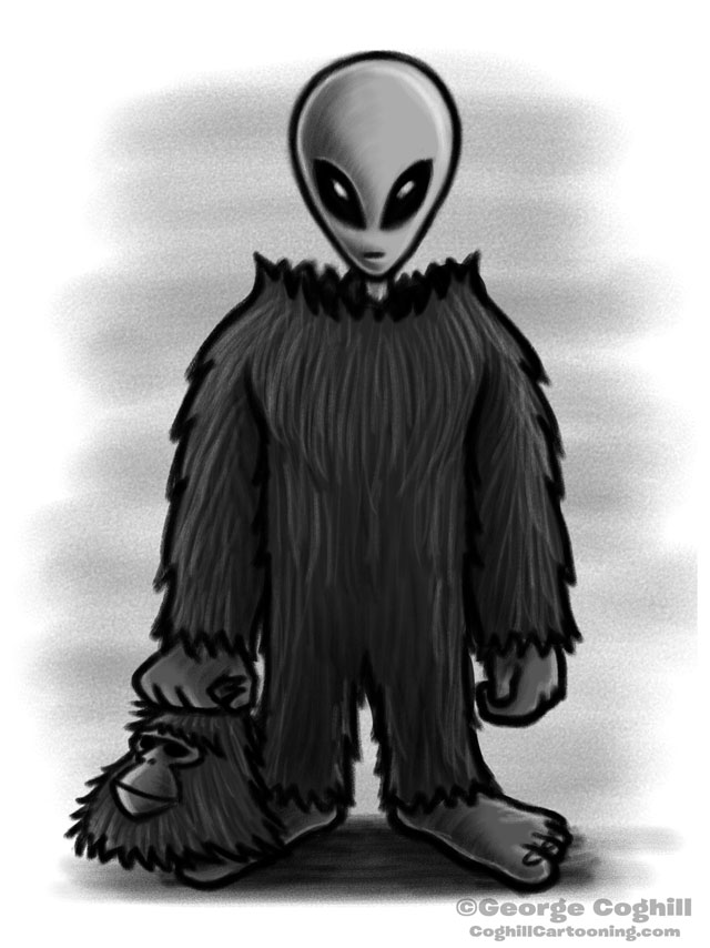 Bigfoot's Secret Identity - Cartoon Sketch