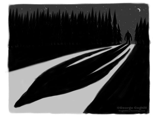Bigfoot Moonlight Shadow in Forest Cartoon Sketch