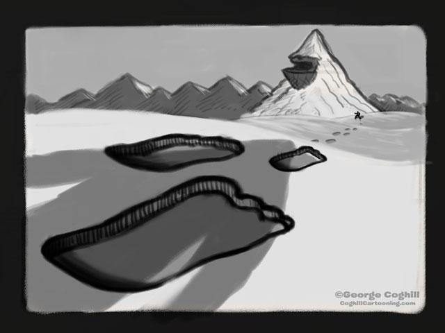 """""""Yeti Lair: A Secret Shadower"""" Cartoon Sketch"""