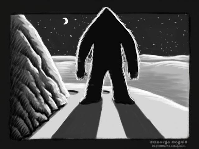 """Yeti Lair: A Shadowy Surprise"" Cartoon Sketch"