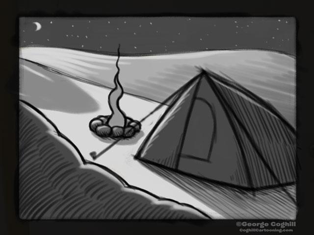 """Yeti Lair: Base Camp Visitor"" Cartoon Sketch"