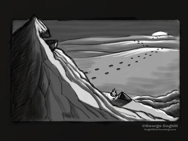 """Yeti Lair: Base Camp"" Cartoon Sketch"