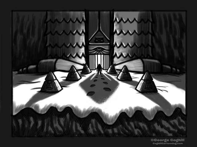 """""""Yeti Lair: Gateway To The Temple Of Foot"""" Cartoon Sketch"""