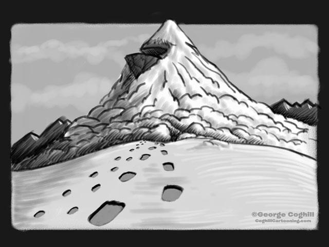 """Yeti Lair: Mountain Ascent"" Cartoon Sketch"