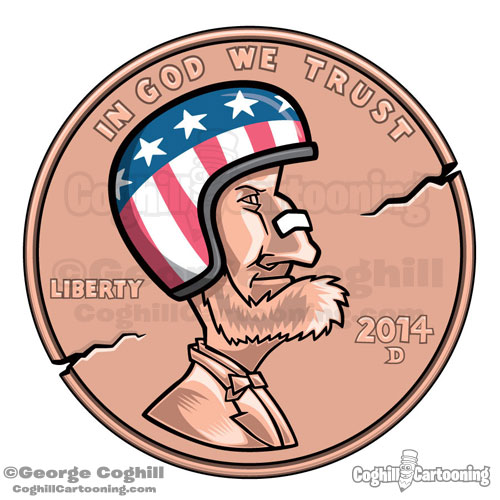 Coin Crash Cartoon Penny with Helmet