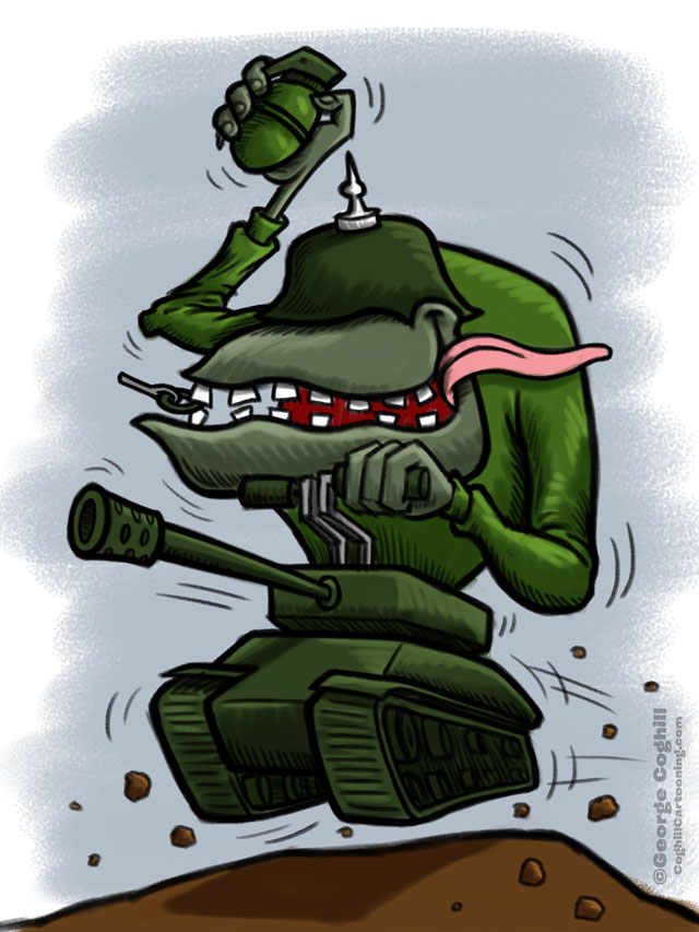 Army Tank Hot Rod Cartoon Sketch