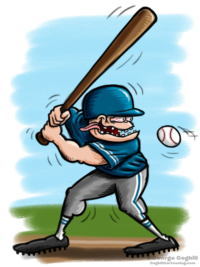 Baseball Player Hot Rod Cartoon Character Sketch