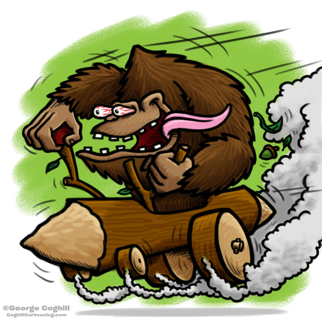 Bigfoot Log Hot Rod Cartoon Sketch