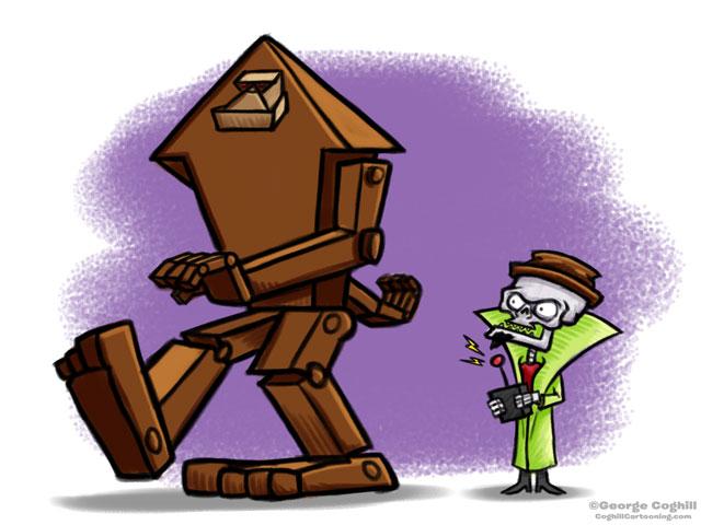 Evil Skeleton & RoboBigfoot Cartoon Character Sketch