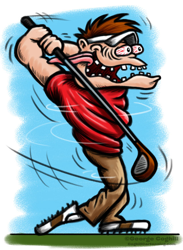 Golfer Hot Rod Cartoon Character Sketch